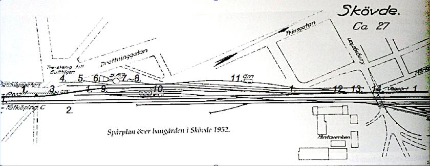 Spårplan 1952 visar hur SAJ's spårplan såg ut 1904 (ingen förändring). Det enda som skiljer är dubbelspår på Västra stambanan och växlarna däremellan.