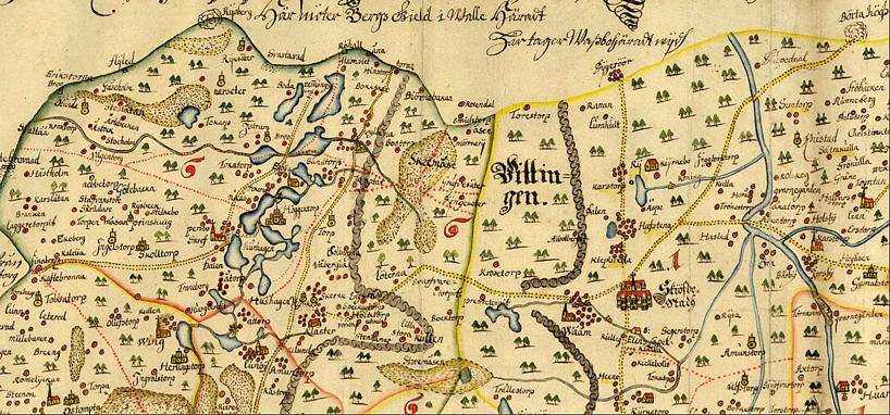 """Klicka på bilden för större karta! """"Specialkarta för landsort och vad som befunnes vid vägarna - 1655"""""""
