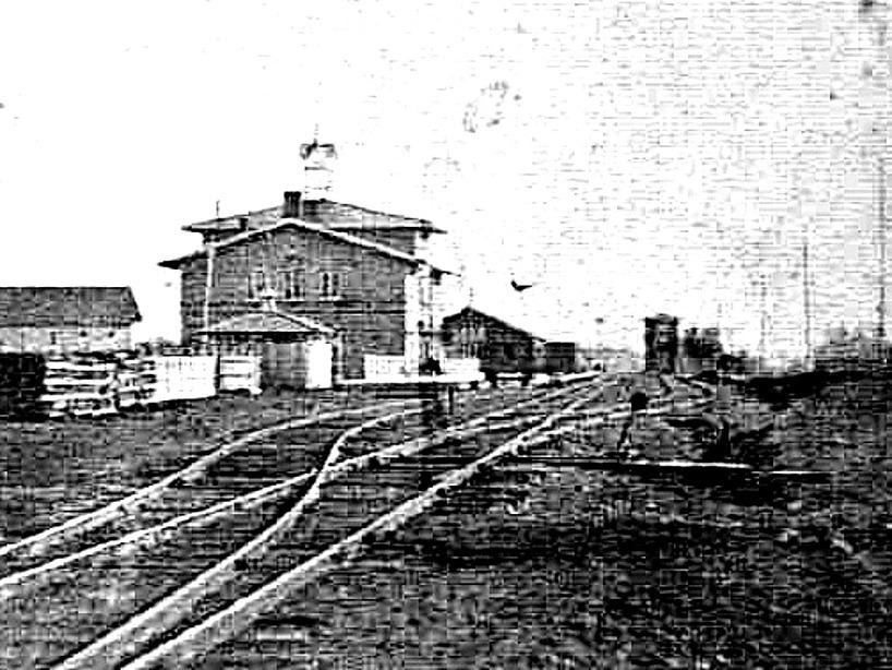 Kanske den äldsta bilden (tillsammans med någon bild nedan) av Skövde Järnvägsstation. (Bild Västergötlands Museum - Bildarkivet/ bildnummer: B145046:491B)