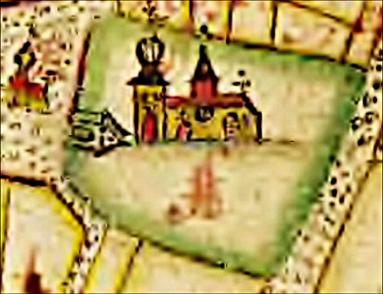 Delkarta med akvarellbild av Skövde kyrka med två torn, kyrkport och även stadshus på torget med tinnar och torn, fritt tecknade; karta 1687