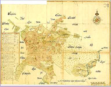 Hela den geometriska kartan över Skövde 1687