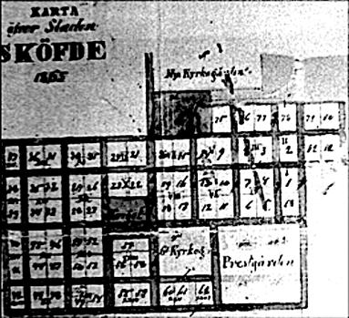 Bild från Skövde stadsmuseum; upprättad karta över Skövde 1865.