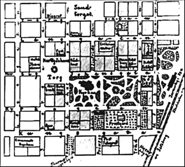 """Skiss inför 1872 års stadsplan visar den """"fullbordade fyrkanten"""" i stadsplanen med kilformad Järnsvägspark och övriga praktfulla parker i centrala staden. (Skövde Stadsmuseum)"""