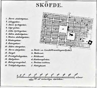 Del av Gustaf Ljunggrens karta 1855. Lägg märke till den yta som Prostgården upptog innan Trädgårdsgatan, Lilla Kyrkogatan och senare Mörkegatan kunde få sina sträckningar.