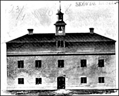 Teckning från tiden för bygget 1776 av rådhuset. (Skövde Stadsmuseum)
