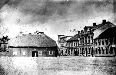 1870-tal. Lundins krog som blev många torgbesökares hemförseningsorsak. (Skövde Stadsmuseum)