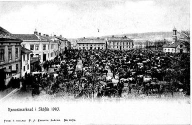 Sandtorget fyllt av hästar och människor. Spruthuset med sitt höga torktorn flankerar torget i norr. (Västergötlands Museum)