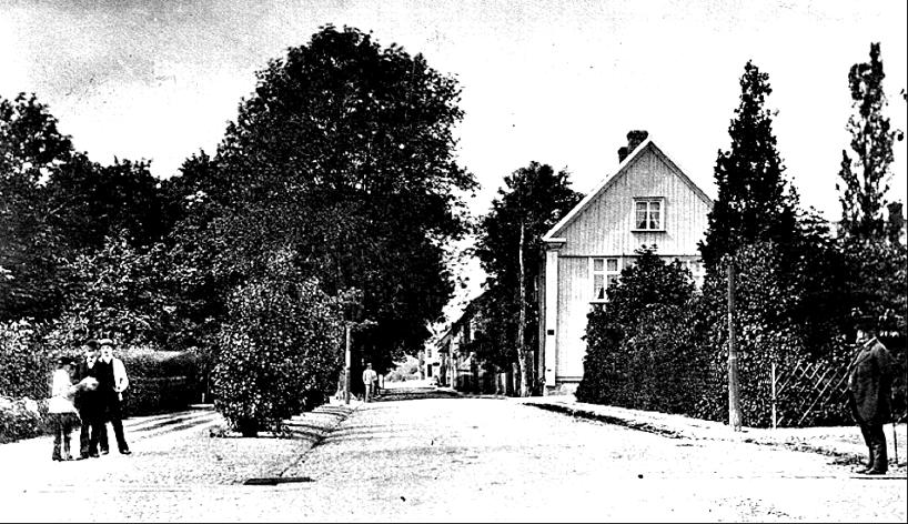 """1880 """"Stora Kyrkogatan"""" (Hertig Johans Gata) från stationsområdet upp mot Torget. """"Borgmästare Wetterbergs Villa"""" med gaveln österut mot stationen. Här ligger nu Hotell Billingen. (Skövde Stadsmuseum)"""