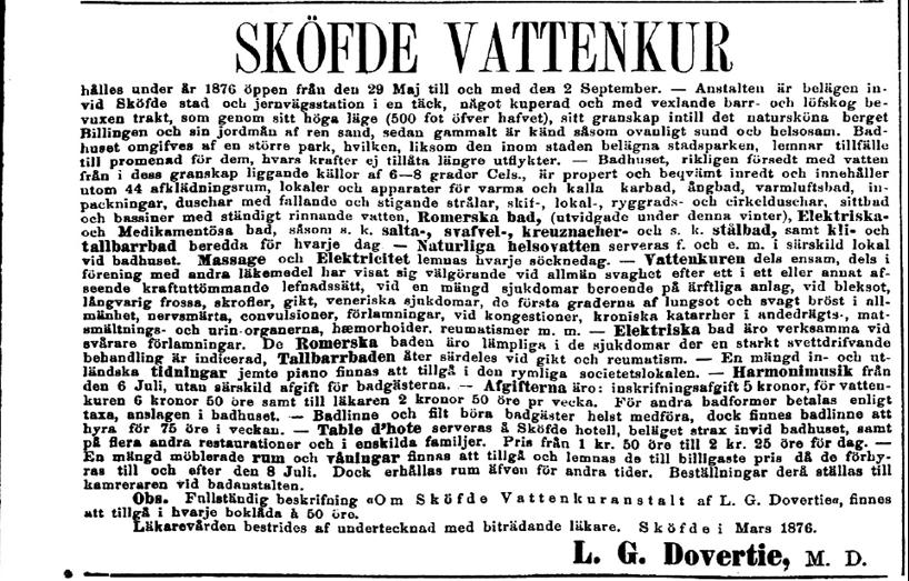 """Annons i """"Tidning för Wenersborgs stad och län"""" för verksamheten efter 5 säsonger. Man kan se att den blivit alltmer avancerad!"""