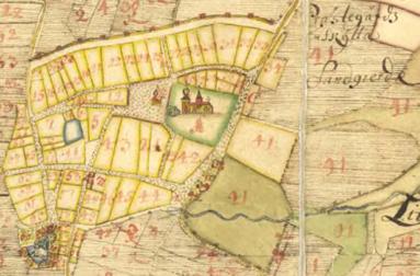 """1687 kan man redan se """"Prästegårds Sandgierde""""/""""Prästegårdsgierdena"""" Nr 41 nordost/ost om staden"""