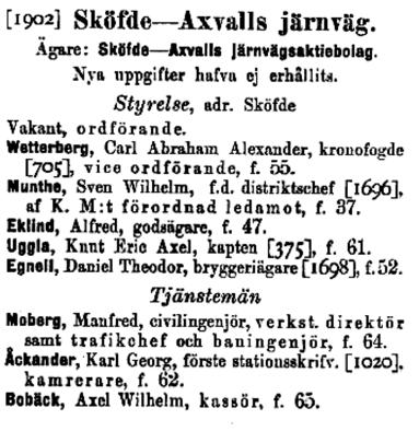 Ordförande hade varit Axel von Matern ända sedan den konstituerande styrelsen 1899-06-29 och som sådan undertecknade han dokumentet ovan t v i maj 1902. Ur statlig redovisning 1903.