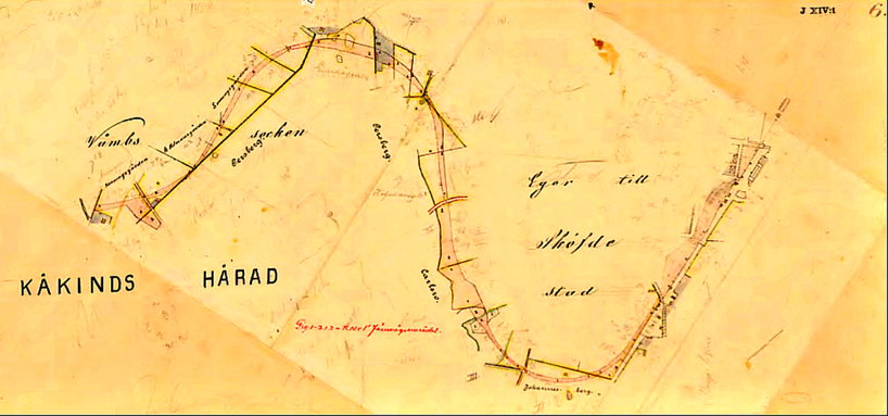 S-svängen ut ur Skövde. Förbi Johannesberg, Carlsro och Persbergs ägor - runt Sköfde stads Egor - blivande Vasastaden. (Lantmäteriets Historiska kartor)