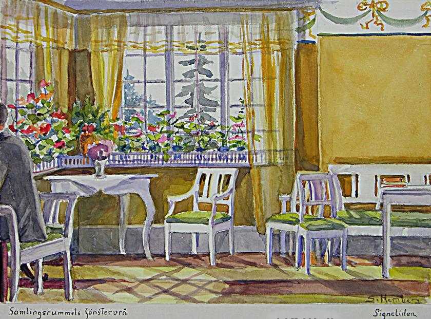 Lägg märke till tapetbård vid taket - original målad av just Carl Larsson på Sundborn