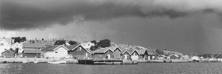 """Sjöbodar, ångbåtsbrygga och Thores livs från sjön.  Längst till höger Grönvik med utskeppningskaj och huggeri av kant- och gatsten, sk """"knott"""". 1968"""