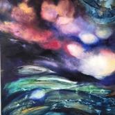 90 cm * 90 cm oljemålning cathrine abstrakt art oil blue
