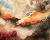 abstrakt art 50 cm * 40 cm oil sunset cathrine öberg