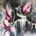 The magnolia - 90 cm * 90 cm, akryl på silkespapper