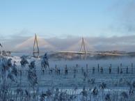 Nr 3. Janne Brittelund.Juryns motivering: Den majestätiska Uddevallabron tornar fram i ett kallt vinterlandskap. Sjöröken som stiger upp likt en dimma vittnar om kylan i det ännu inte frusna havet. Den frostiga växtligheten närmast i bild och bryggan ger ett fint perspektiv. Ljuset som finns bakom molnen skapar vintriga färgkonstraster och skapar spännande en bildkomposition av både natur och arkitektur.