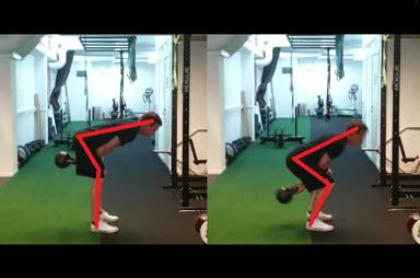 Höftfällning till vänster (korrekt). Knäböjsrörelse till höger (undvik detta).