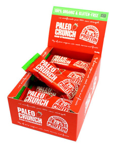 PALEO CRUNCH RAW RECOVERY BAR - RAW STRAWBERRY - 12 st hel låda