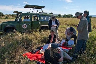 Här  sitter vi på en Masajfilt mittt i lejonsnåren, och äter vår lunch. Guiderna spanar efter rovdjur. Det känns tryggt.