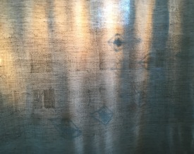 Jag tillhör en plats III/ Detalj/ Broderi på linne/ himmeli i halm montage/ 150x170 cm