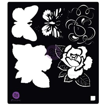 PRIMA MARKETING 6X6 STENCIL: TALES OF YOU & ME FLOWERS & BUTTERFLY -