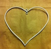 Hjärta vit metall 10 cm