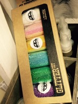 Glitter i förpackning, 6 färger