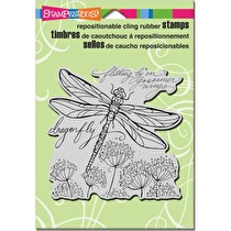 Stampendous Cling Stamp 6.5X4.5 - Dragonfly Wings