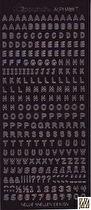 Svart - Stickers alfabet. Många bokstäver av varje på varje ark. Arket mäter 23 x 10 cm