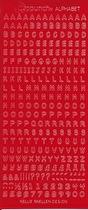 Röd Stickers alfabet. Många bokstäver av varje på varje ark. Arket mäter 23 x 10 cm