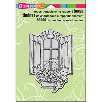 Stampendous Cling Stamp 6.5X4.5 - Window Kitty -