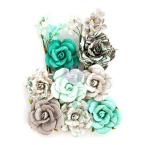 Prima Zella Teal Flowers - Teal Love