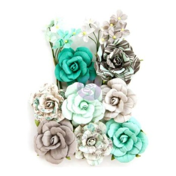 Prima Zella Teal Flowers - Teal Love -