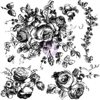 Prima Iron Orchid Designs Decor Clear Stamps 12X12 - Floral -