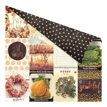 Prima Amber Moon Foiled Double-Sided Cardstock 12X12 - Pumpkin Love -