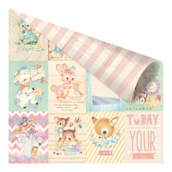 Prima Heaven Sent 2 Foiled Double-Sided Cardstock 12X12 - Welcome Baby -