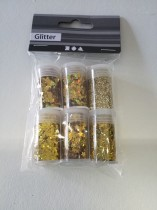 Förpackning med glitter, 6 st burkar, superglittrigt!