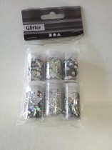 Set med glitter, 6 olika, superglittrigt