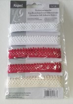 Förpackning med spets, röd, vit, creme
