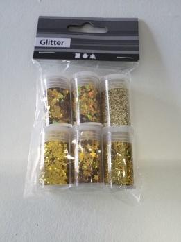 Förpackning med glitter, 6 st burkar, superglittrigt! -