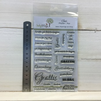 InkyWings - Clear Stamps - Grattis -