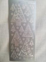 Stickers 10x23 med granar silver