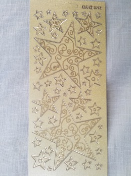 Stickers 10x23 snöflingor guld -