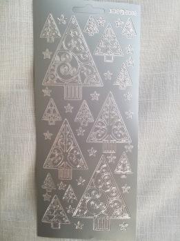 Stickers 10x23 med granar silver -