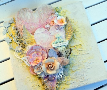 KURS Söndag 28/10 Mixedmedia Heart Canvas - kurs med Katja Joulak -