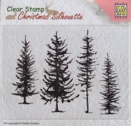 Nellie - Snellen - clear stamp - pine trees -