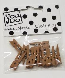 Mini klädnypor brun -