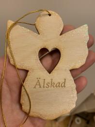Trä Ängel 10 cm med text, glitter och band.